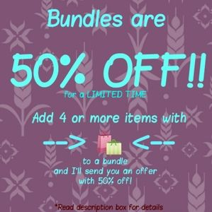 50% off Bundles of 4 or more items with 🛍️